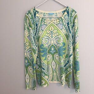 J. McLaughlin Blue Green Printed Sweater
